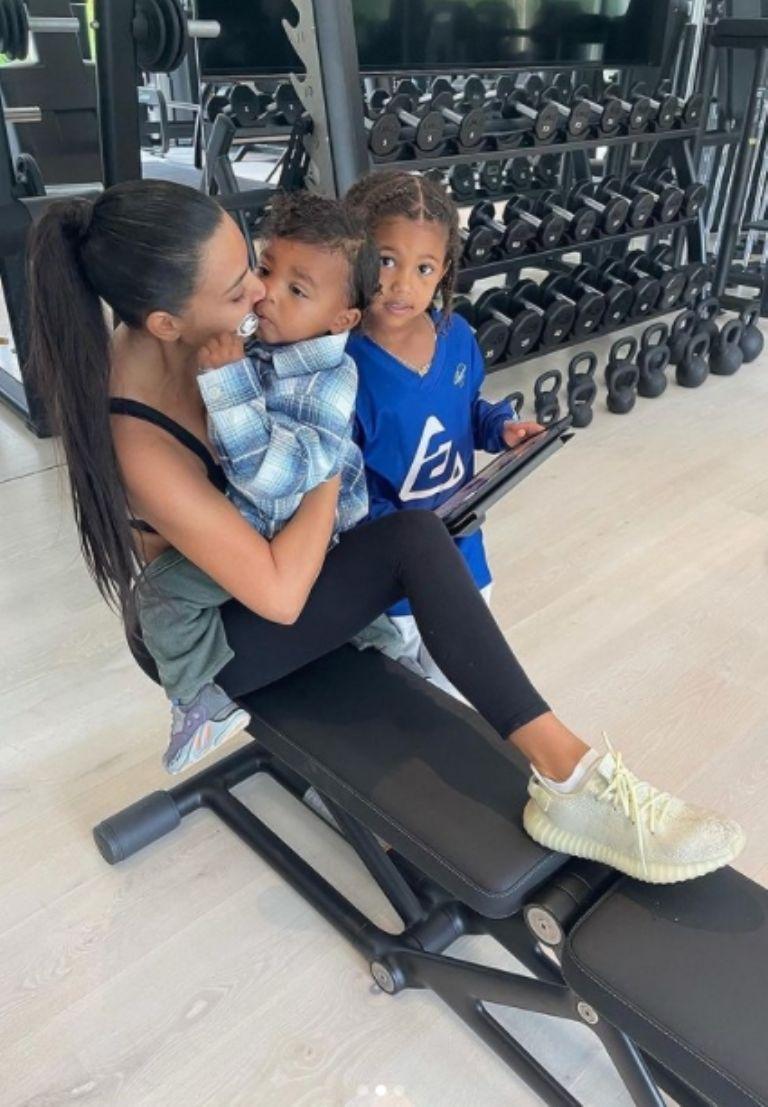Kim Kardashian at the Gym with her children Saint and Salm West ( Instagram screenshot / kimkardashian)