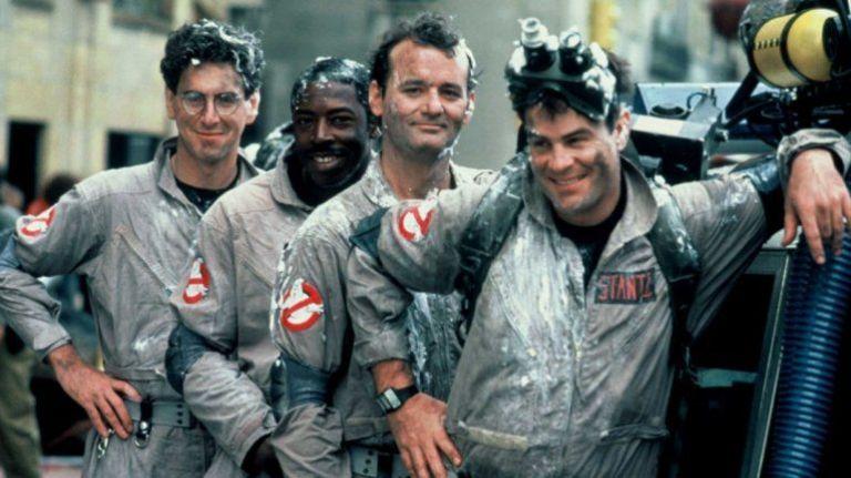Harold Ramis (Egon Spengler), Ernie Hudson (Winston Zeddmore) Dan Aykroyd(Raymond Stantz) y Bill Murray (Peter Venkman)