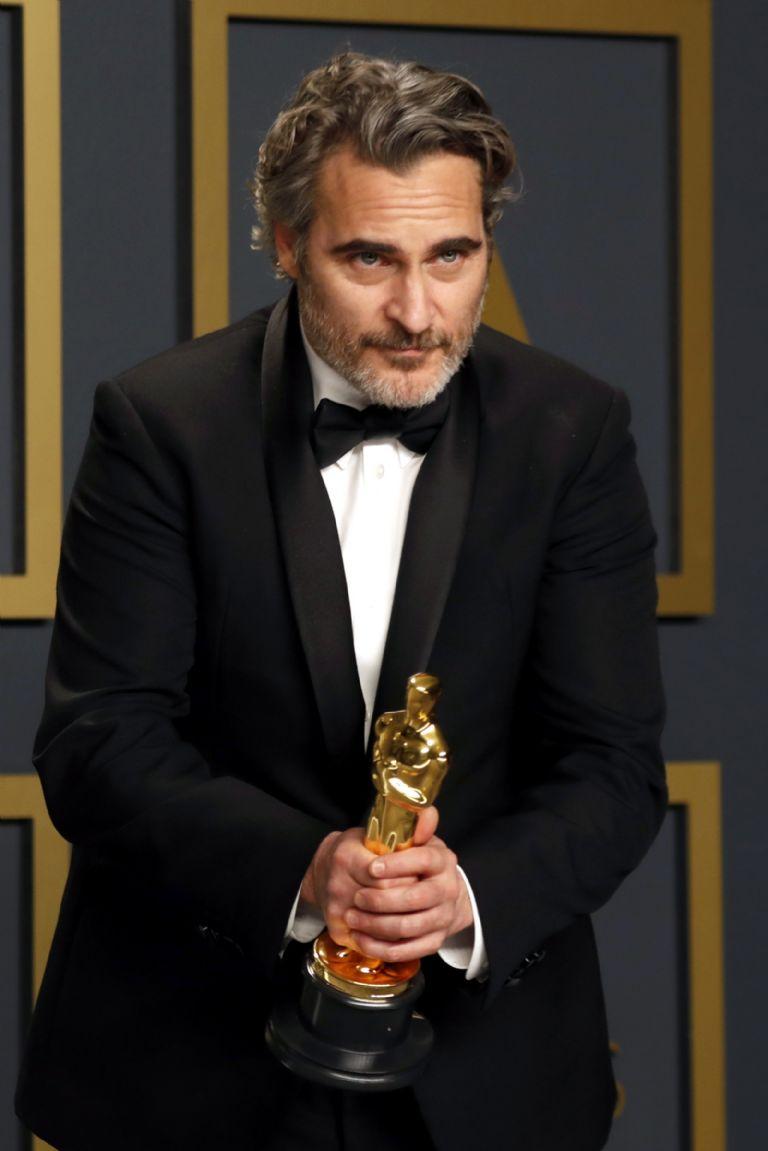Joaquin Phoenix poses in the press room with the Oscar for Best Actor for his performance in 'Joker' during the 92nd Annual Academy Awards at the Dolby Theater in Hollywood, California, USA, February 09, 2020.