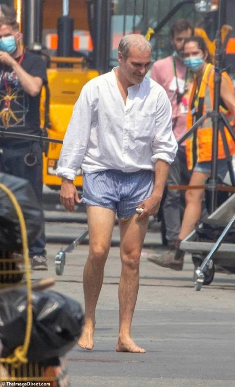 """Joaquin Phoenix on the set of his new movie, """"Disappointment Blvd."""""""