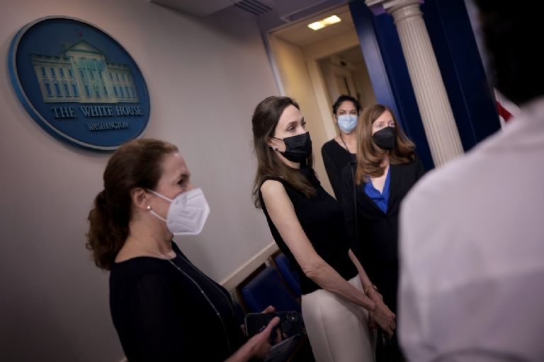 Angelina Jolie visited the White House on Wednesday and met with officials to discuss the reauthorization of the Violence Against Women Act.